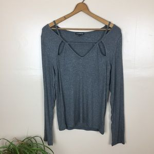[Express] Cut Out Long Sleeve Top